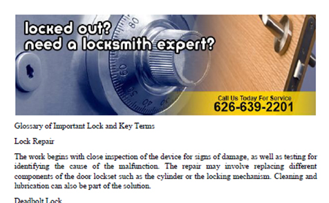 Glossary by Locksmith Pasadena - Click to download