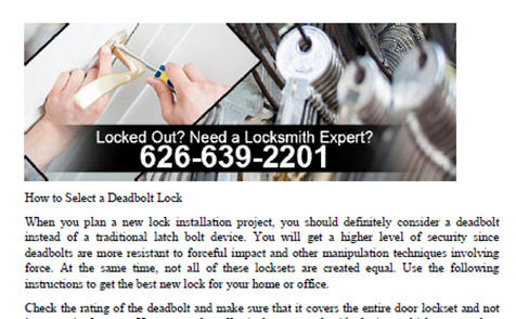 How to Select a Deadbolt Lock in California - Click to download